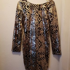 Just me Black and Gold Sequined dress